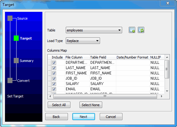 Bulk load TSV files data To Dbf (dBase, FoxBase, FoxPro) - select table