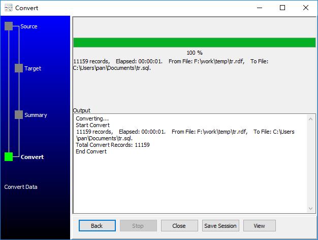 convert XML format RDF file to Sql file - convert to Sql file