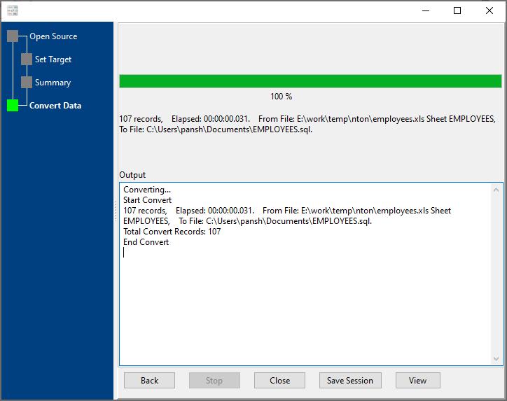 convert Excel file to Sql file - convert file
