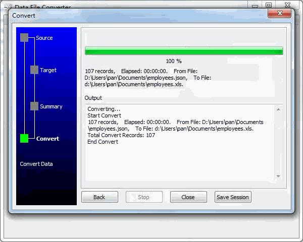 convert Json file to Excel file - convert file