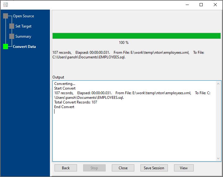 convert Xml file to Sql file - convert file