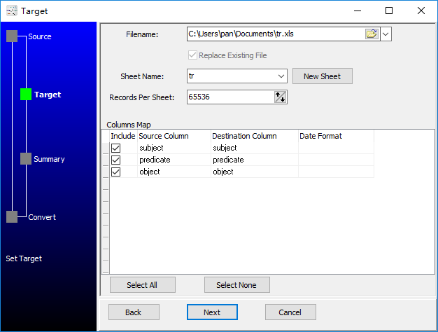 convert RDF file to Excel file - config Excel file