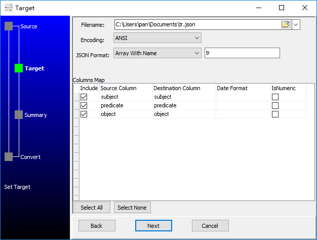 convert XML format RDF file to Json file - config Json file