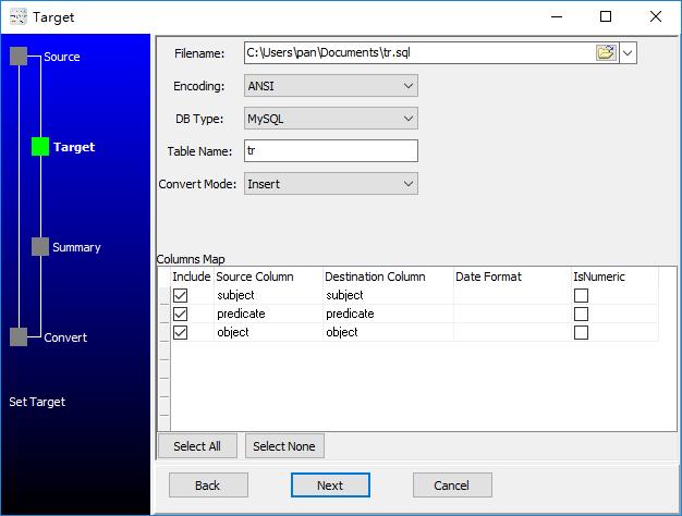 convert XML format RDF file to Sql file - config Sql file