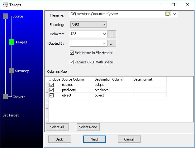 convert XML format RDF file to Tsv file - config Tsv file