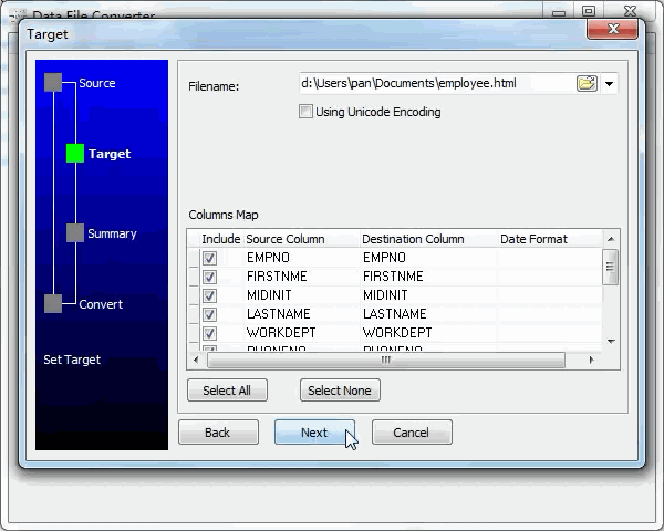 convert Excel file to Html file - config Html file