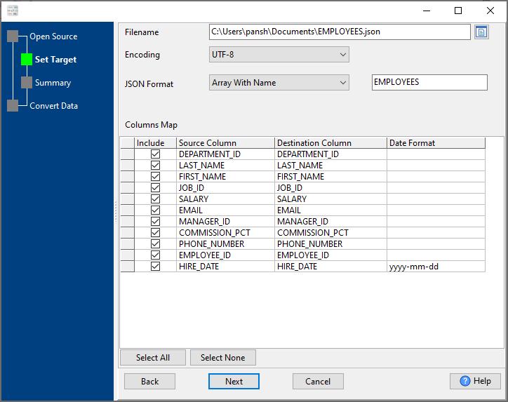 convert Excel file to Json file - config Json file