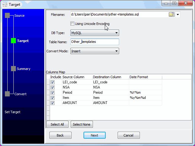 convert online CSV file to SQL file - config SQL file
