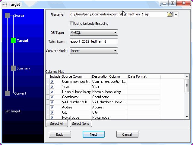 convert online EXCEL file to SQL file - config SQL file