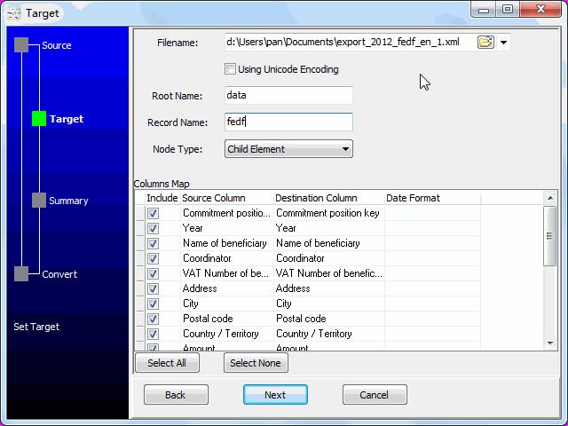 convert online EXCEL file to XML file - config XML file