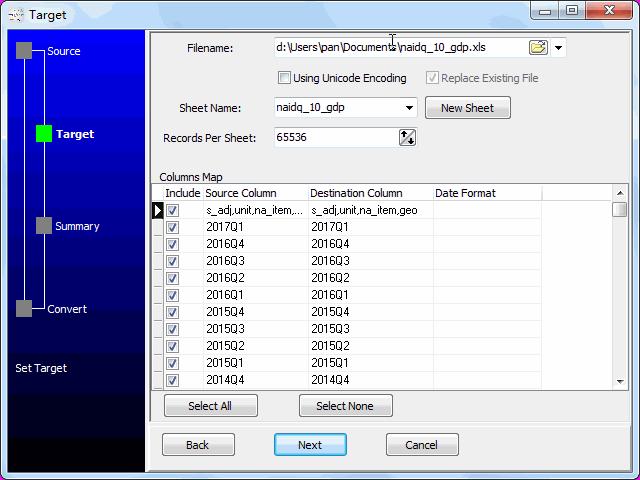 convert online TSV file to EXCEL file - config EXCEL file