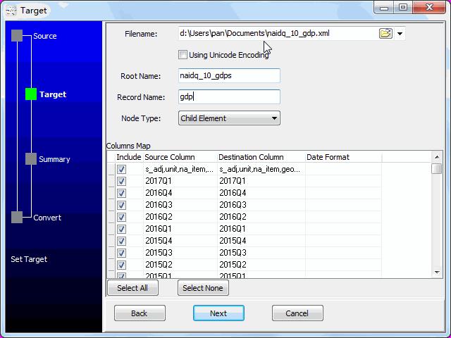 convert online TSV file to XML file - config XML file
