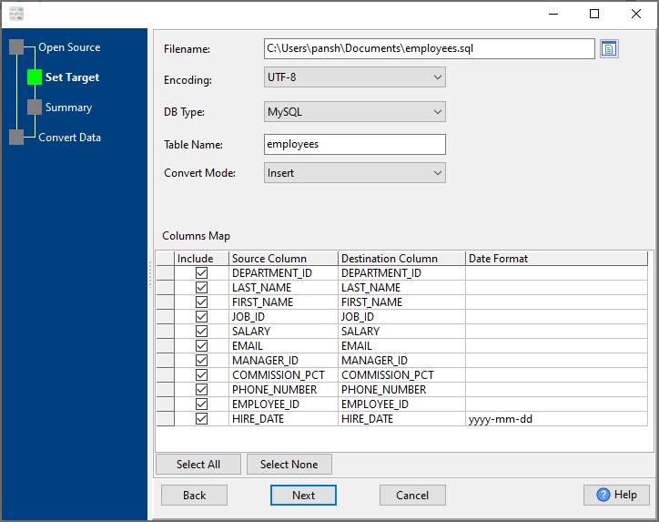 convert Txt file to Sql file - config Sql file