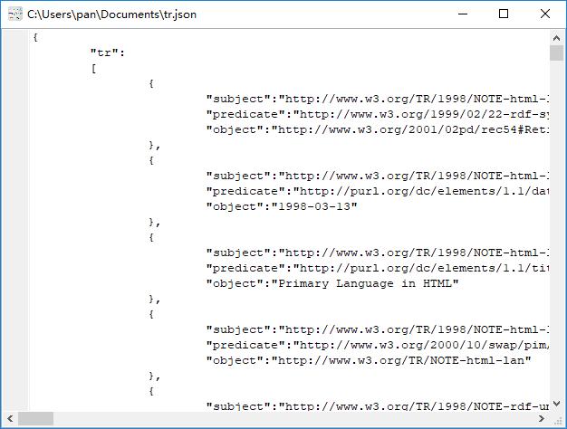 convert XML format RDF file to Json file - view  Json file