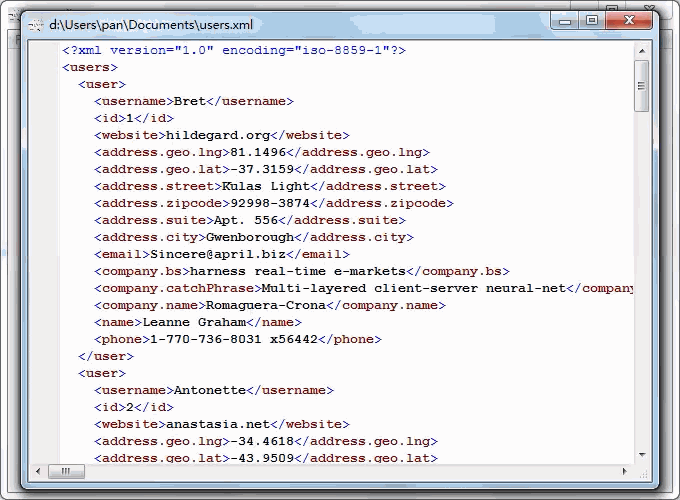 convert JSON from open RESTful API to Excel file - view  Xml file