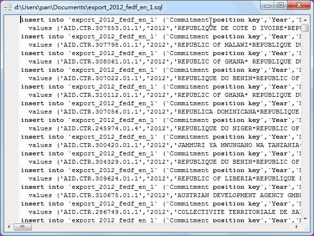 convert online EXCEL file to SQL file - view  SQL file