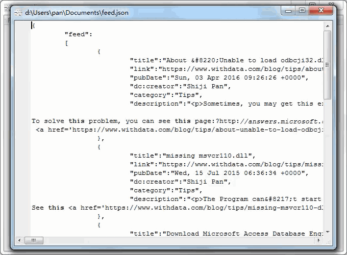 convert online RSS feeds to Json file - view  Json file
