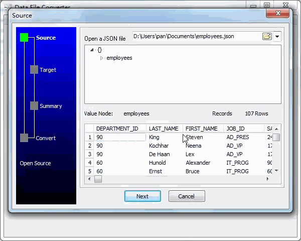convert Json file to Excel file - open a Json file