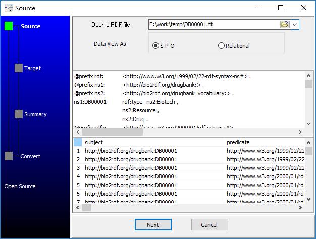 convert RDF Turtle file to Excel file - open RDF Turtle file