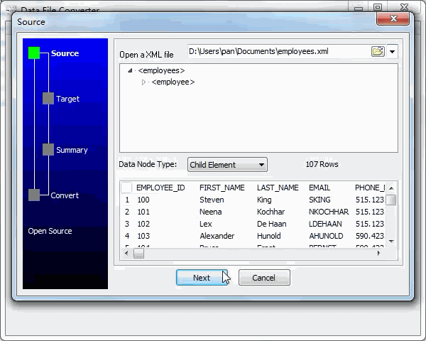 convert Xml file to Html file - open a Xml file