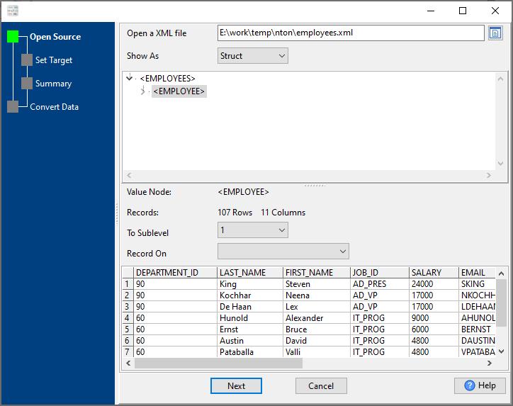 convert Xml file to Sql file - open a Xml file