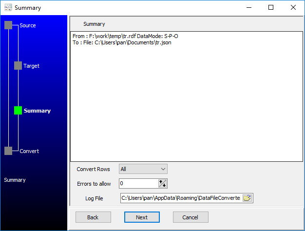 convert XML format RDF file to Json file - summary