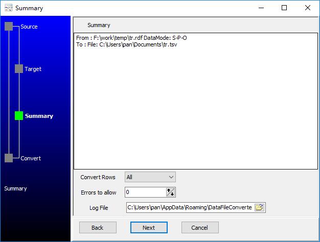 convert XML format RDF file to Tsv file - summary