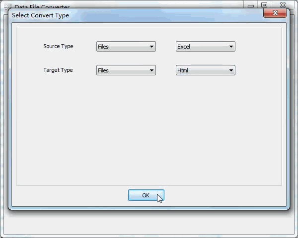 batch convert Excel files to Html files - select type
