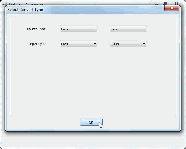 batch convert Excel files to Json files - select type