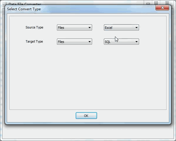 batch convert Excel files to Sql files - select type