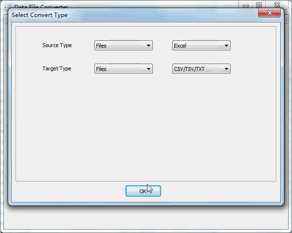batch convert Excel files to Txt files - select type