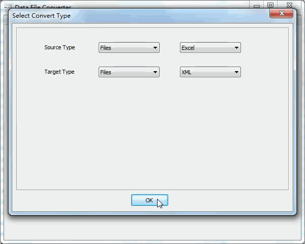 batch convert Excel files to Xml files - select type