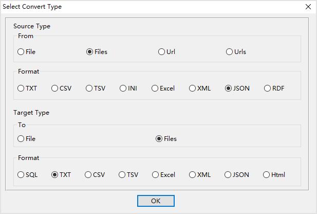 batch convert Json files to Txt files - select type