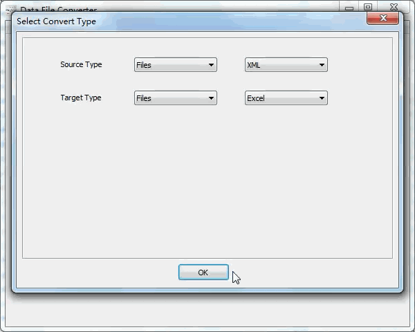 batch convert Xml files to Excel files - select type