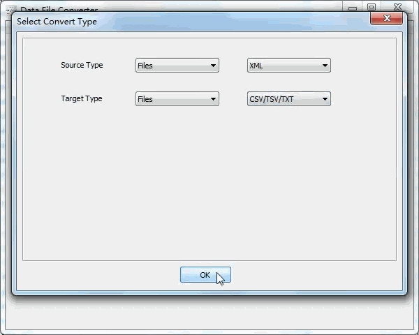 batch convert Xml files to Txt files - select type