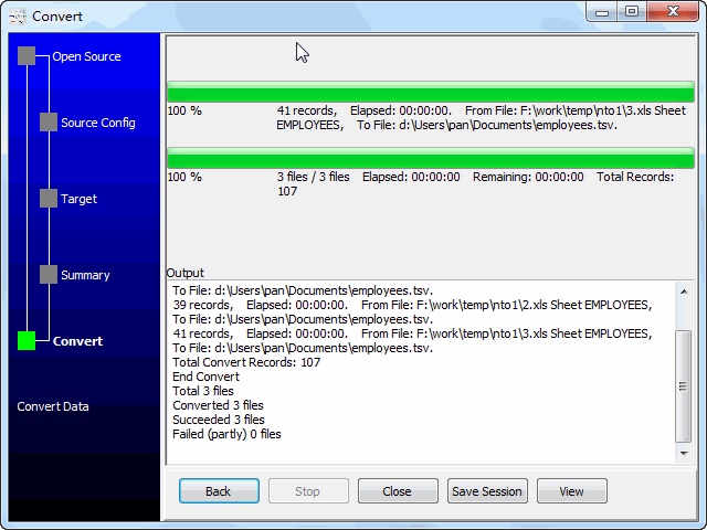 Merge multiple Excel files into one Tsv file - convert files