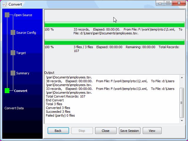 Merge multiple Xml files into one Tsv file - convert files