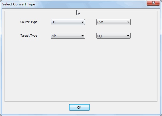 convert online CSV file to SQL file - select type