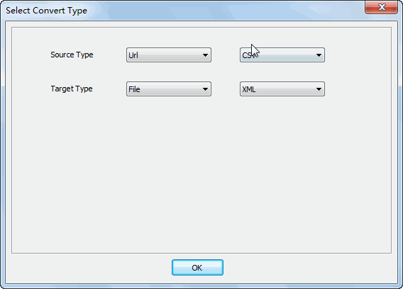 convert online CSV file to XML file - select type