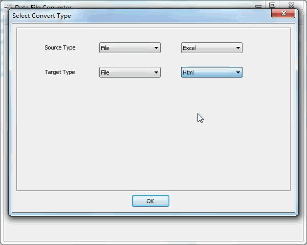 convert Excel file to Html file - select type