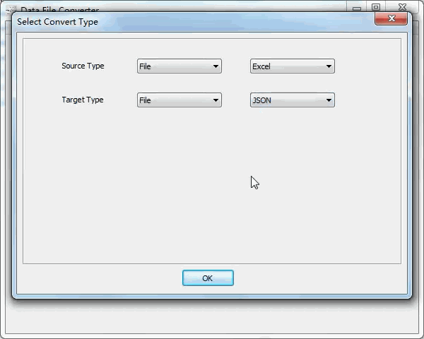 convert Excel file to Json file - select type
