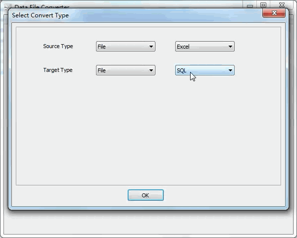 convert Excel file to Sql file - select type