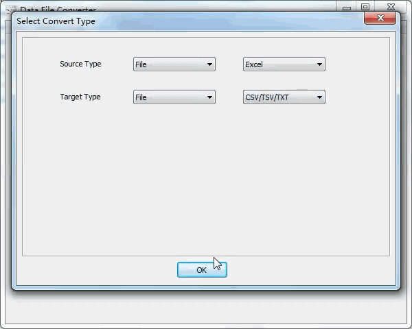 convert Excel file to Txt file - select type