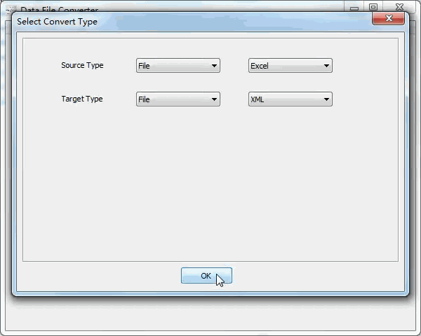 convert Excel file to Xml file - select type