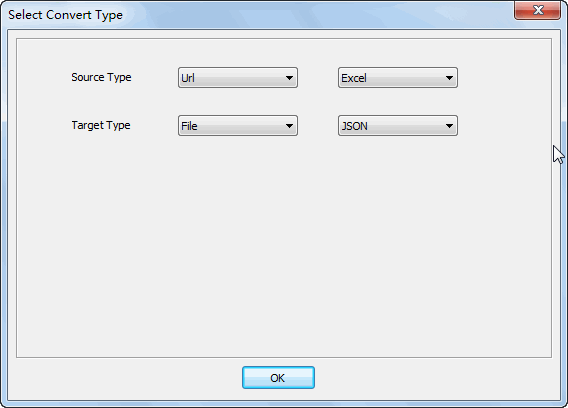 convert online EXCEL file to JSON file - select type