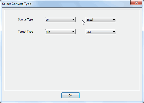convert online EXCEL file to SQL file - select type