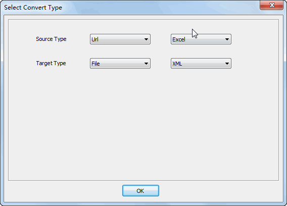 convert online EXCEL file to XML file - select type