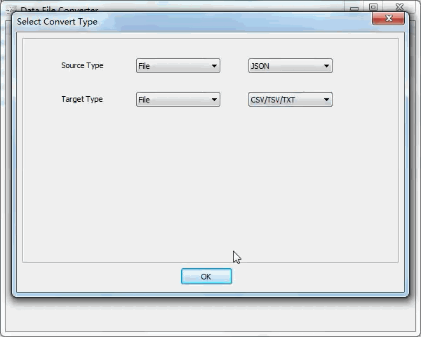 convert Json file to Txt file - select type
