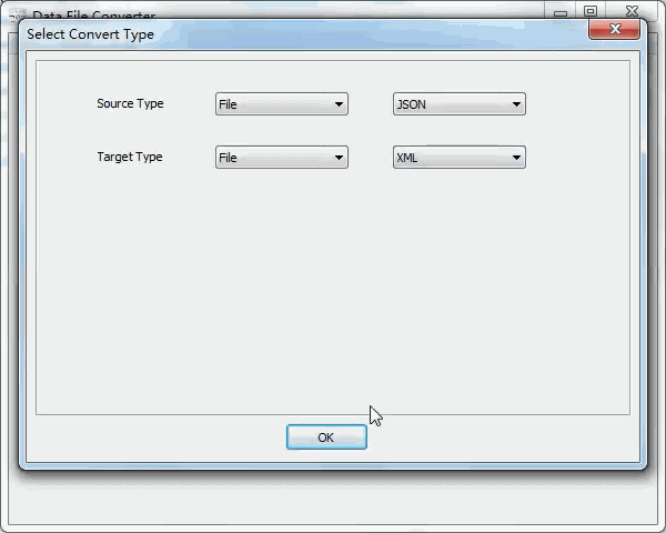 convert Json file to Xml file - select type