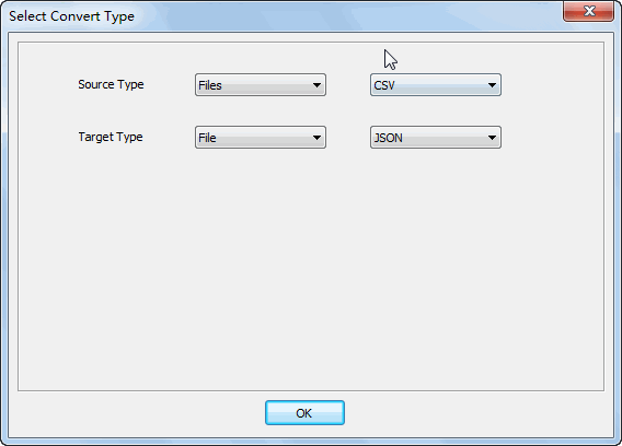 Merge multiple Csv files into one Json file - select type